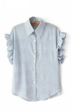 Lapel Blue White Stripes Print Short Sleeve Blouse