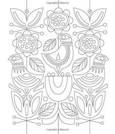 Just Add Color: Mid-Century Modern Animals: 30 Original Illustrations To Color, Customize, and Hang: Jenn Ski: 978159253 Folk Embroidery, Embroidery Stitches, Embroidery Patterns, Colouring Pages, Coloring Books, Bordado Popular, Scandinavian Folk Art, Art Plastique, Doodle Art