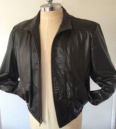 Jean Pierre Mens Leather Brown Jacket Size 44 Large Racer Biker Hipster Coat Vtg