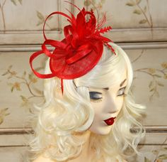 Red Fascinator  Mini Fascinator  Red Tea Party by MadameMerrywidow