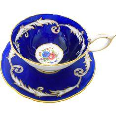 Aynsley Royalty blue rose tea cup and saucer -- found at www.rubylane.com @rubylanecom #vintagebeginshere #mondayblues