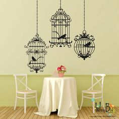 Birdcages wall decals - set of 3 cages with birds - Ornate Victorian Gothic Cottage style - metallic decals  sc 1 st  Pinterest & Easy decorating idea: Wall decals | Home Base | Pinterest | Wall ...