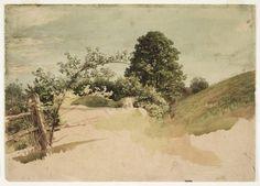 'Landschaft mit Zaun', öl von William Trost Richards (1833-1905, United States)