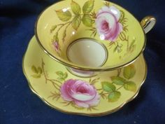 EB FOLEY TEA CUP AND SAUCER ELEGANT h.p. LUSH PINK ROSES ON YELLOW GOLD TRIM