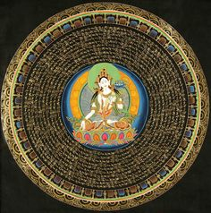 White Tara Mandala with Mantras.