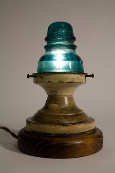 Insulator Lamp #insulator #glass #twisted #cloth #wire #schoolhouse #nightlight #lamp #steampunk #americana $175
