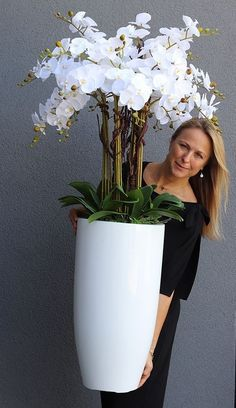 Faux Plants, Indoor Plants, Green Plants, House Plants Decor, Plant Decor, Outdoor Planters, Concrete Planters, Cement, Orchid Flower Arrangements