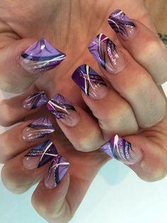 Crazy Nail Designs, Diy Nail Designs, Acrylic Nail Designs, Nail Polish Designs, Acrylic Nails, Spring Nails, Autumn Nails, Purple Nail Art, French Nail Art