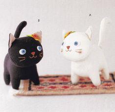 Coton lin tissu mignon chat chatons Animal mascottes en peluche peluche pdf tutoriel & E modèle en japonais avec les titres des morceaux en ...