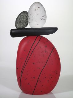Cairn Rock Totem in Red: Melanie Guernsey-Leppla: Art Glass Sculpture | Artful Home