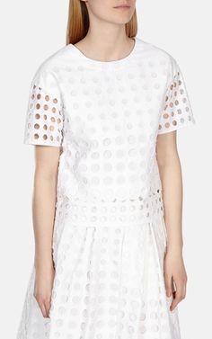 Eyelet broderie boxy top | Luxury Women's Lace | Karen Millen