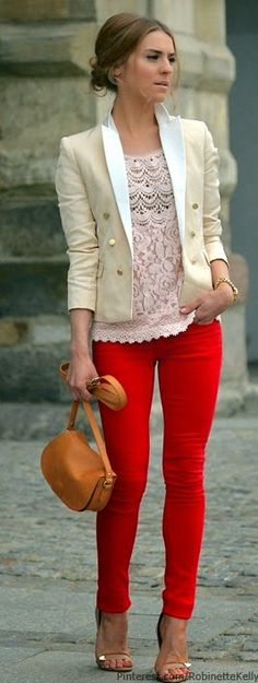 Baby pink lace top , Causal blazer with red chic pant