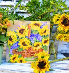 My Painted Garden: Painting Sunflowers and Fall Gatherings Watercolour Tutorials, Beautiful Paintings, Sunflowers, Art Boards, Art Pictures, Art Lessons, Home Art, Garden Painting, Painting Flowers