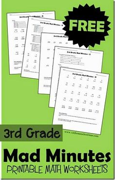 FREE 3rd Grade Mad Minutes - these free printable 3rd grade math worksheets can be played as a game or used as no prep practice sheets (homeschool math)