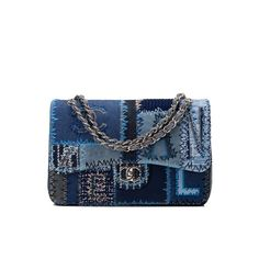 Chanel Patchwork Quilted Jumbo Classic Flap Bag |... ❤ liked on Polyvore featuring bags, handbags, patchwork purse, shoulder bags, flap bag, patchwork handbags and blue gift bags