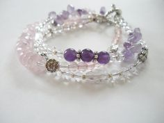 Amethyst Quartz Opalite and Silver Bracelet by LostElephantDesigns
