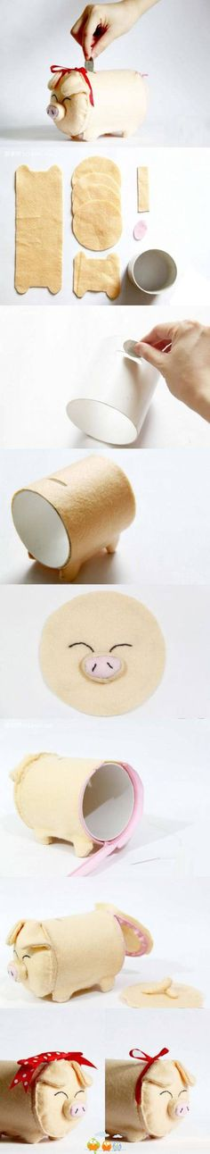 cutest diy piggy bank idea!!- fun with felt project inspiration idea