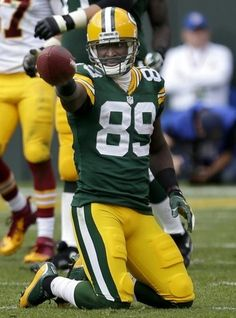 Green Bay Packers' James Jones celebrates after a first down reception in the fourth quarter. The Green Bay Packers host the Washington Redskins at Lambeau Field on September 15, 2013 in Green Bay, Wis. . Wm.Glasheen/Post-Crescent Media