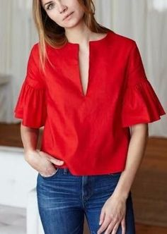 How to wear the red tops which suits your needs red tops emerson fry Blouse Styles, Blouse Designs, Red Top Outfit, Red Blouse Outfit, Blouse Dress, Fashion Wear, Fashion Dresses, Red Blouses, Ruffle Top