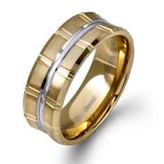 Simon G 14K Two-Tone Yellow and White Gold 9 MM Wedding Band With Satin Finish. $2090