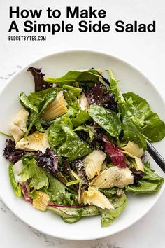 Learn how to use this easy formula to make a simple side salad that will add color, texture, and flavor to your dinner plate. BudgetBytes.com Healthy Recipes, Side Dish Recipes, Whole Food Recipes, Salad Recipes, Homemade Italian Dressing, Superfood Salad, Vegan Cookbook, Nutrition, Frugal Meals