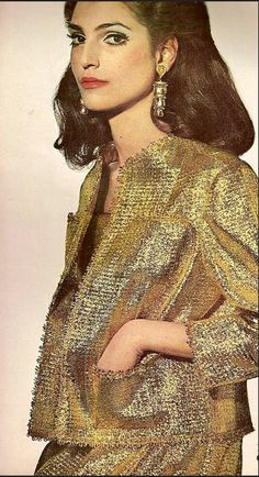 1967 Benedetta in gold suit of Lurex and nylon by Leonard Arkin, photo by Penn for Vogue Aug