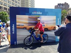 Outdoor Experiential  Event Step and Repeat Example - Citi Bike 'Learn & Ride' Example - ALT TERRAIN   by ALT TERRAIN Sports Marketing, Street Marketing, Guerilla Marketing, Event Marketing, Outdoor Photo Booths, Downtown Events, Photo Zone, Photo Games, Experiential Marketing