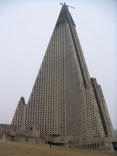 RYUGYONG HOTEL – PYONGYANG, NORTH KOREA Ryugyong-Hotel-Pyongyang-North-Korea Work started on this 105 story hotel only a few years before a massive famine plagued the country. Abandoned for 16 years, work once again began in 2008, when it was coated in $150 million worth of glass.