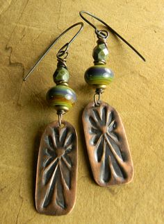Green Blue Lampwork and Copper Earrings by Gloria Ewing.