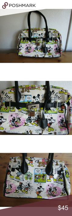"""Disney Mickey Mouse comic design purse Super cute Vintage Mickey Mouse comic cartoon design purse ☆Approx. 8"""" tall  ☆Approx. 12"""" long ☆Mickey Mouse and Minnie mouse cartoon design ☆In perfect condition  ☆FAST shipper ☆OPEN to reasonable offers Disney Bags"""