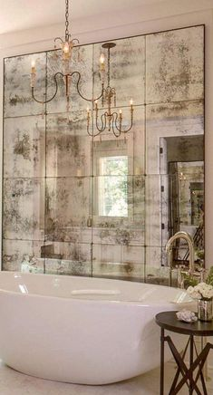 Sometimes an artfully faded mirror is all that is necessary to create a vintage Italian feeling at home. 10 Fabulous Mirror Ideas to Inspire Luxury Bathroom Designs ?To see more Luxury Bathroom ideas Bathroom Design Luxury, Bathroom Designs, Luxury Bathrooms, Bathroom Interior, Bathroom Remodeling, White Bathrooms, Remodeling Ideas, Country Bathrooms, Mirrors In Bathrooms
