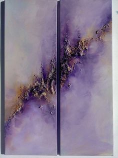 Purple Abstract Sky Art...Original Diptych Abstract Modern Contemporary Art (15,7 x 23.6) acrylic paint, textured,signed, ready to hang
