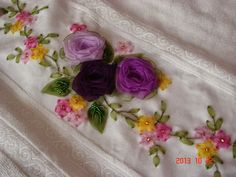 This Pin was discovered by Hav Ribbon Art, Fashion Fabric, Fabric Flowers, Needlework, Embroidery, Crafts, Bed Sheets, Stitches, Tape Art