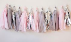 Blush Pink Grey Silver Tassel Garland by LoveGarlands on Etsy