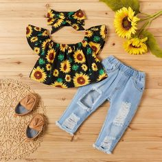Cute Baby Girl Outfits, Baby Outfits Newborn, Cute Baby Clothes, Baby Clothes Shops, Kids Outfits, Family Outfits, Baby Clothes For Girls, Little Girl Clothing, Baby Girl Jeans