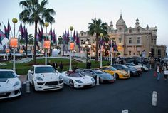 Supercars lined up outside the Casino