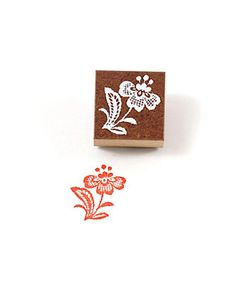 "1.6"" × 1.6"" Antique Lacy Flower Rubber Stamp (A) by niconecozakkaya on Etsy"