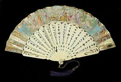Fan Date: 1860–69 Culture: probably Spanish Medium: Ivory, metallic, metal, glass, paper, mother-of-pearl Credit Line: Brooklyn Museum Costume Collection at The Metropolitan Museum of Art, Gift of the Brooklyn Museum, 2009; Gift of J. Townsend Russell, 1959