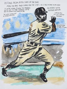 RAYMOND PETTIBON | Untitled (hitting from both sides of the plate…), 2002 | ink and watercolour on paper