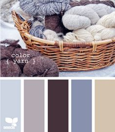 """Crafted colors - """"color yarn"""".  Another blue-gray color scheme that is so calming.  Again, needs a contrasting color, even if used minimally.  I can live with these colors in every room, mainly focusing on the bedroom and family room."""