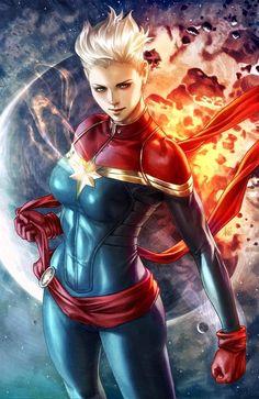 thebestofwomenincomics: Friday Feature: Stanley Artgerm Lau Carol Danvers as Captain Marvel