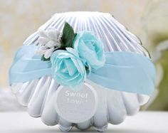 50pcs Sea Weddings , Coastal Wedding Shell Candy Box with Blue silk Ribbons , Wedding Favor Candy Box , DIY  Party Paper Favor Box