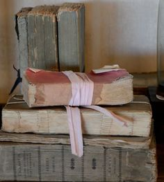 Antique books in muted colors...