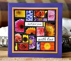 Card by Liesbeth Fidder using Darkroom Door Bright Blossoms Montage and Wordstrips #darkroomdoor