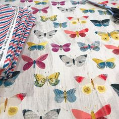 Oh, my friends! My new #wonderfabric is on my cutting table today. Shipping yardage to my sewing friends who will sew the samples. Follow #wonderfabric for sneak peeks and stay tuned for full release in March! Hits stores in summer.  #newspaperbutterflies #carriebloomston #windhamfabrics #creativelifehappylife #artiststudio #fabric #sewinglife #fabricstash #fabrichoarder #quilting #sewing #textiledesign