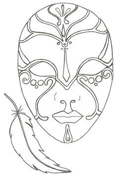 coloriage le masque et la plume