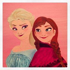 Frozen Anna and Elsa canvas Name Canvas, Canvas Artwork, Wedding Canvas, Anna Frozen, Happy Day, Elsa, Disney Characters, Fictional Characters, Disney Princess