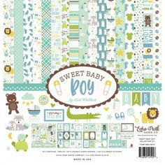 Echo Park Sweet Baby Boy Collection Kit 12 x 12 Inch Baby Scrapbook, Scrapbook Paper, Scrapbooking, Scrapbook Supplies, Baby Boys, Thing 1, Journaling, Elephant Images, Echo Park Paper