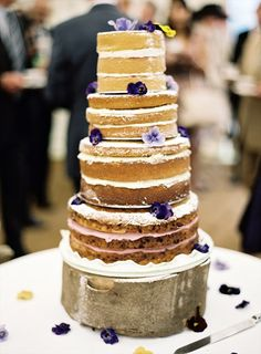 purple theme naked cake