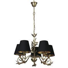 For the lounge - Archer Gold leaf 5 Light Chandelier